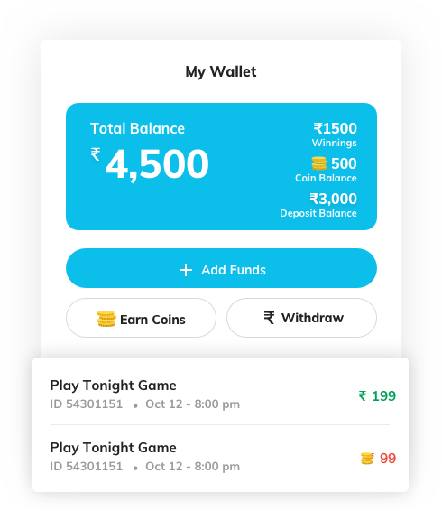 fantasy sports website development with wallet management by Vinfotech