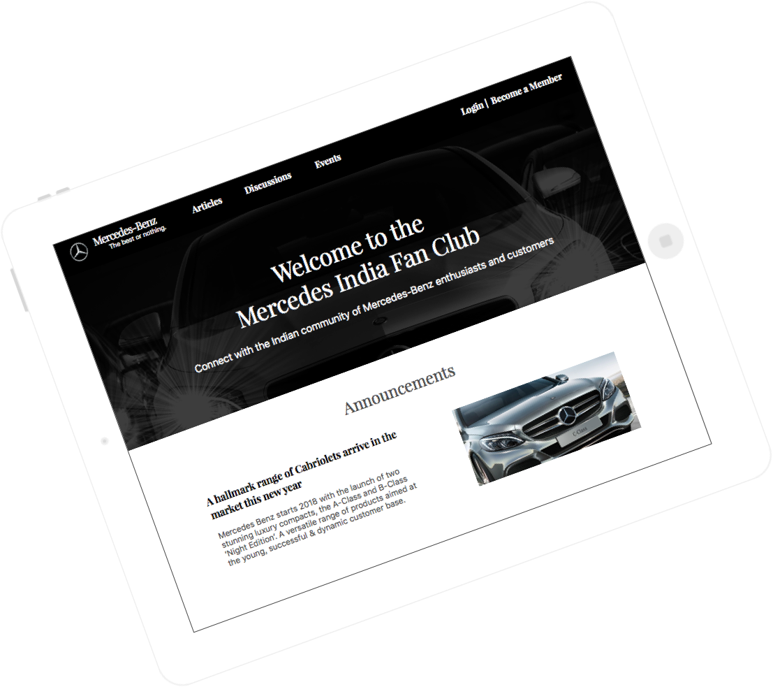Mercedes – Custom Automobile Social Network Design and Development for City-wise Chapters by Vinfotech