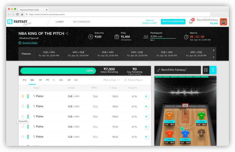 NBA Integrated – vFantasy Fantasy Sports Software Updates by Vinfotech