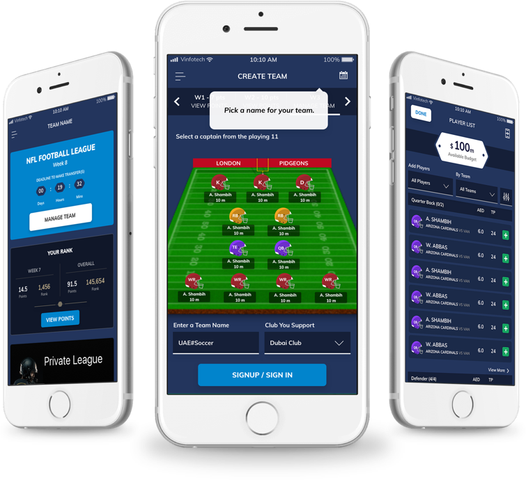 Create a fantasy football website design by vinfotech