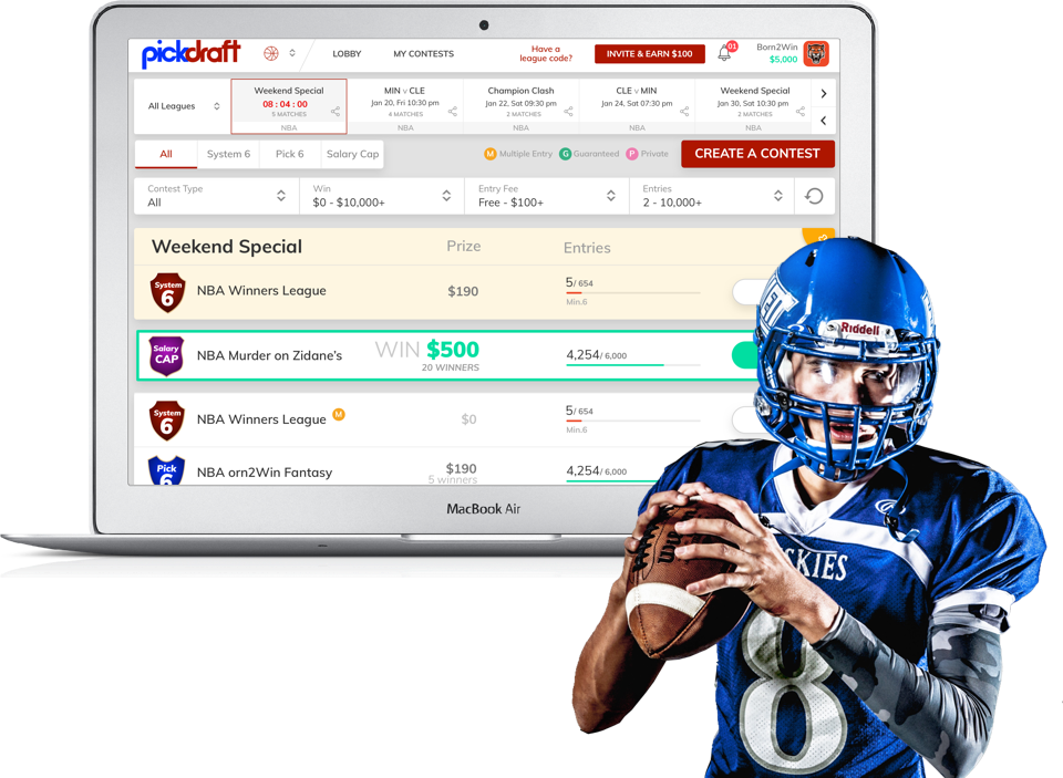 Pickdraft daily fantasy sports platform for NFL, NBA & MLB by vinfotech