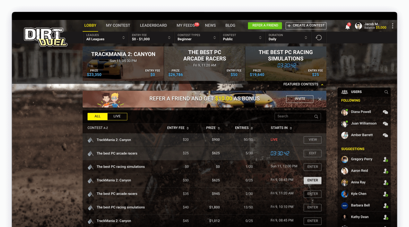 Dirt Duel - Fantasy Sports Application Development for Dirt Car Racing by Vinfotech