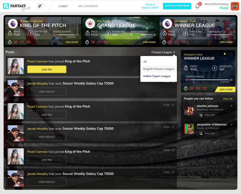 fantasy sports software with social features by Vinfotech
