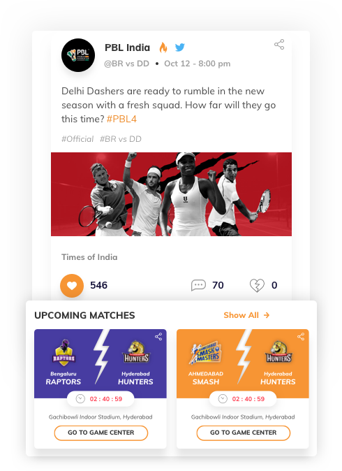 fantasy web design with newsfeed by Vinfotech