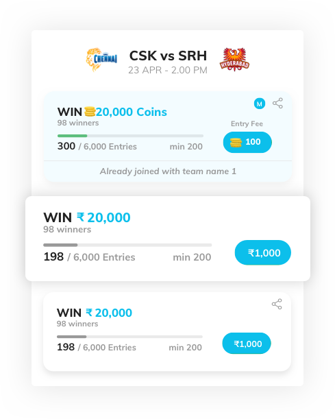 season long fantasy sports software with all contest listed by Vinfotech