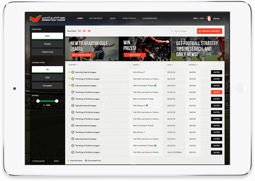 vFanatsy Football Players Web Redesign