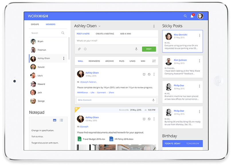 Work High – Inhouse Social Network for Employees by Vinfotech